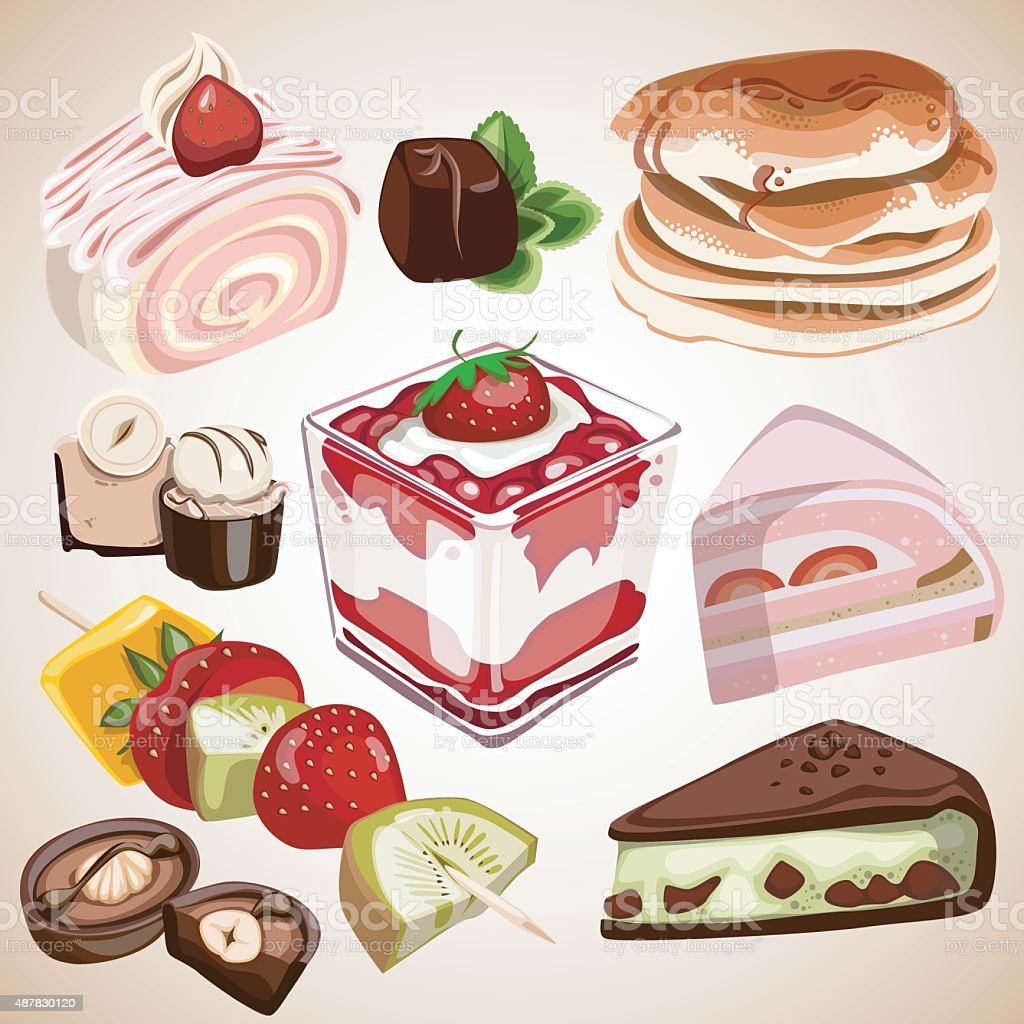 dessert food sweet candy Cake vector art illustration