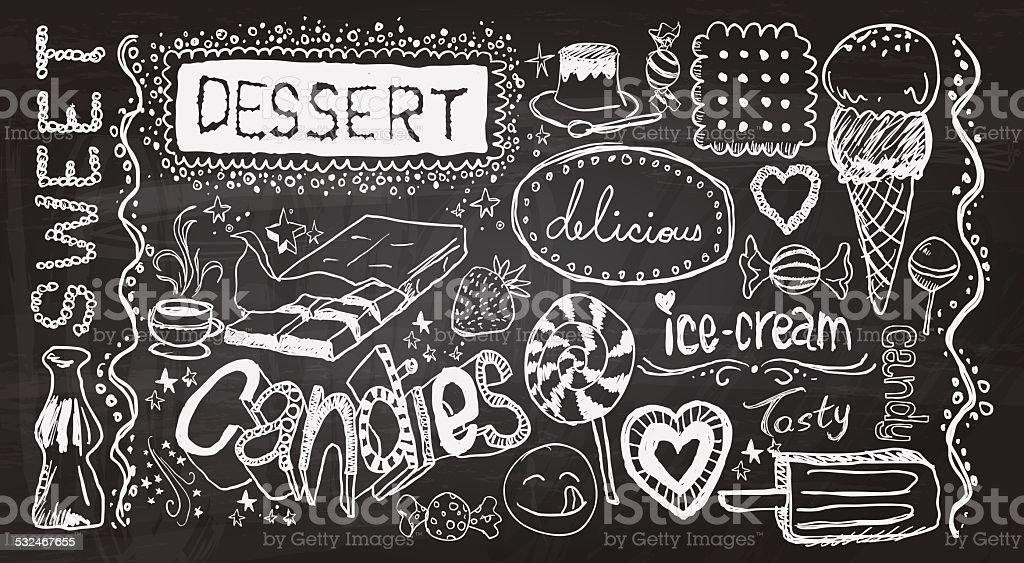 Dessert hand skecth collection vector art illustration