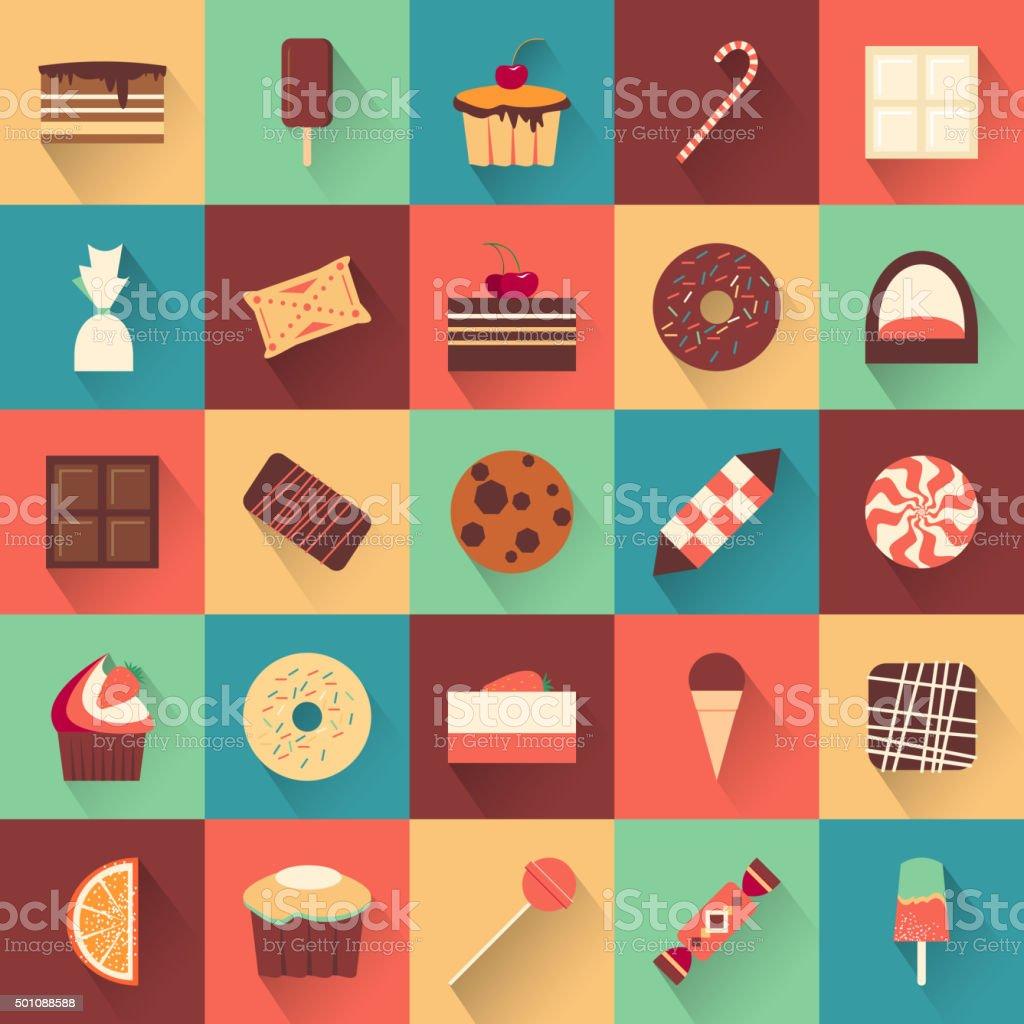 Dessert icon set. Collection of tasty sweets vector art illustration