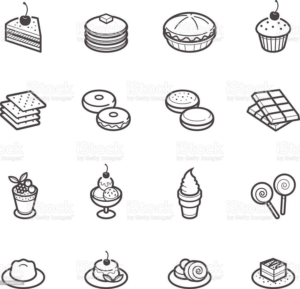 Dessert Icons vector art illustration