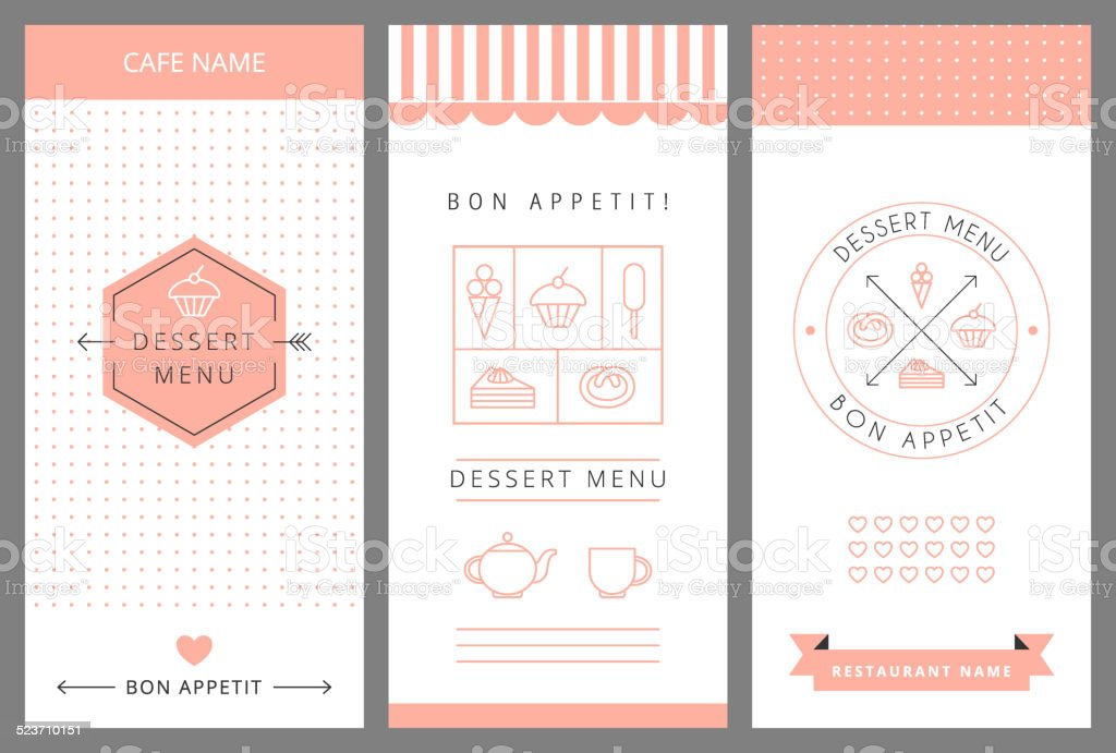 Dessert Menu Card Design template. vector art illustration