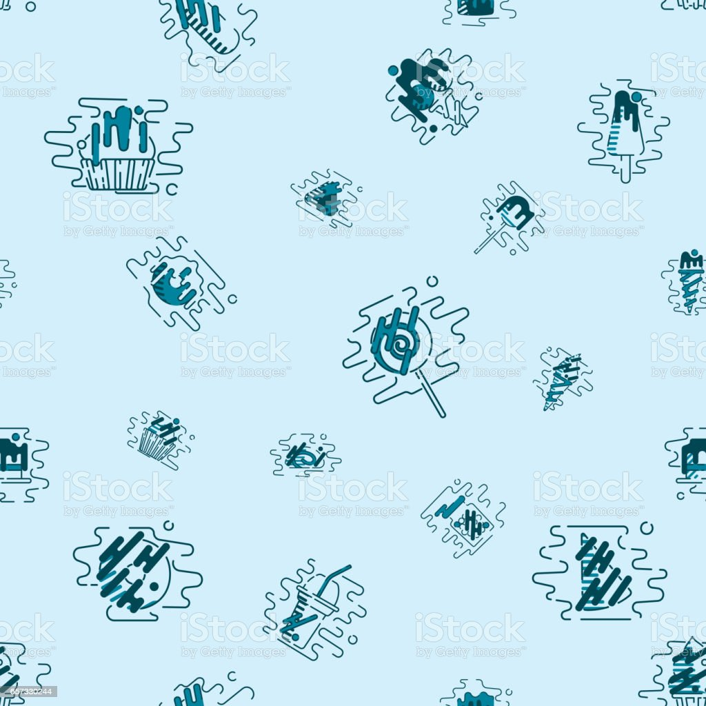 Dessert Seamless Pattern with Modern Flat Elements for Candy Shop vector art illustration