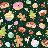 Dessert seamless vector pattern with Christmas elements.