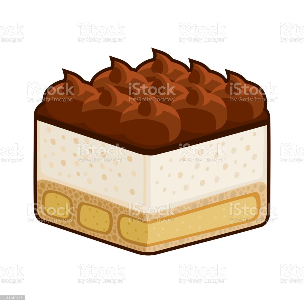 Dessert Tiramisu with Amaretto Isolated on White. Vector royalty-free stock vector art
