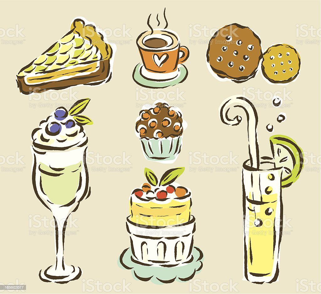Desserts and Drink Collection royalty-free stock vector art