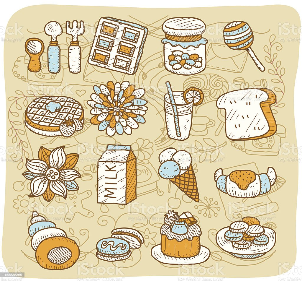 Desserts and Drink icon set | Mocha Series royalty-free stock vector art