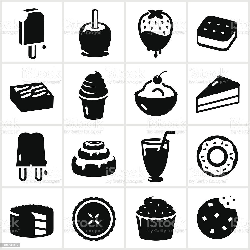 Desserts and Sweets Icons vector art illustration