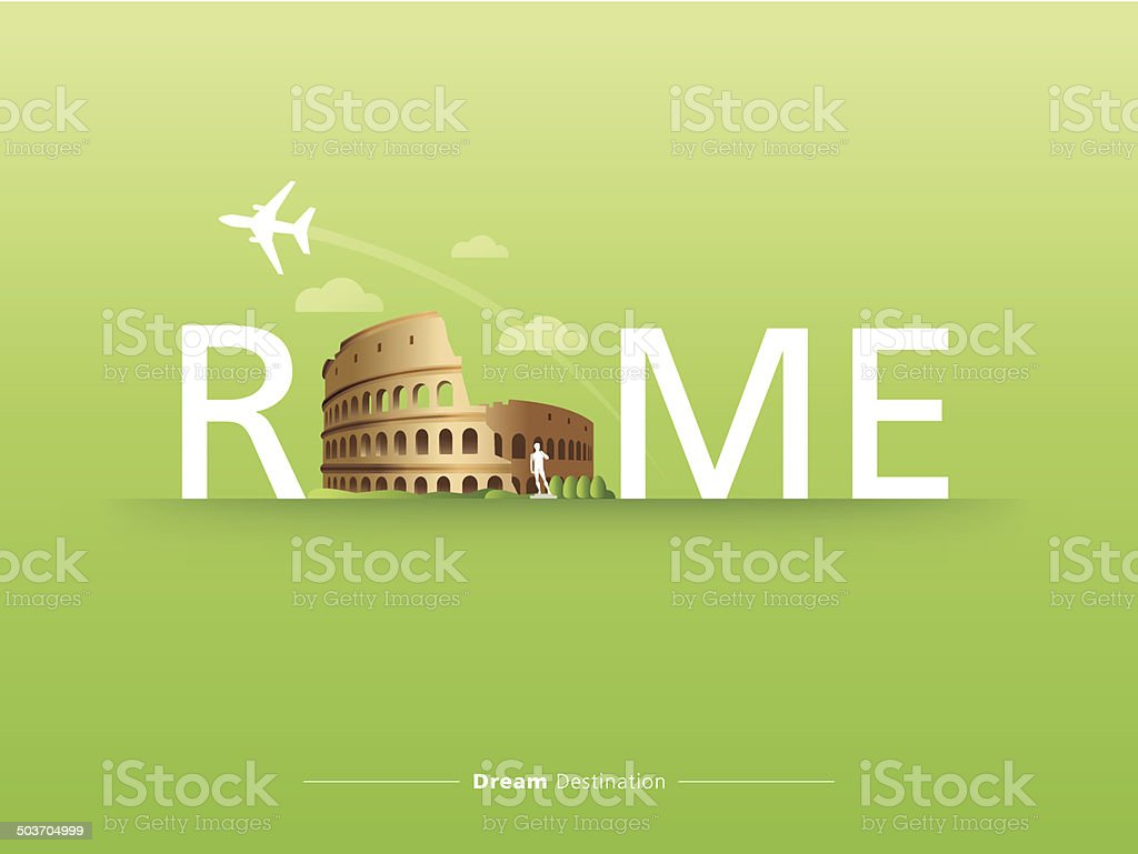 destination, travel, city scape, typography, Italy, Rome, Colosseum vector art illustration