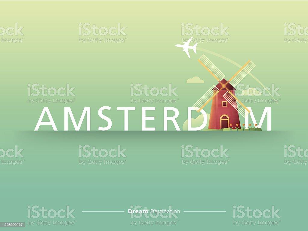 destination, travel, city scape, typography, Netherlands, Amsterdam, windmill vector art illustration