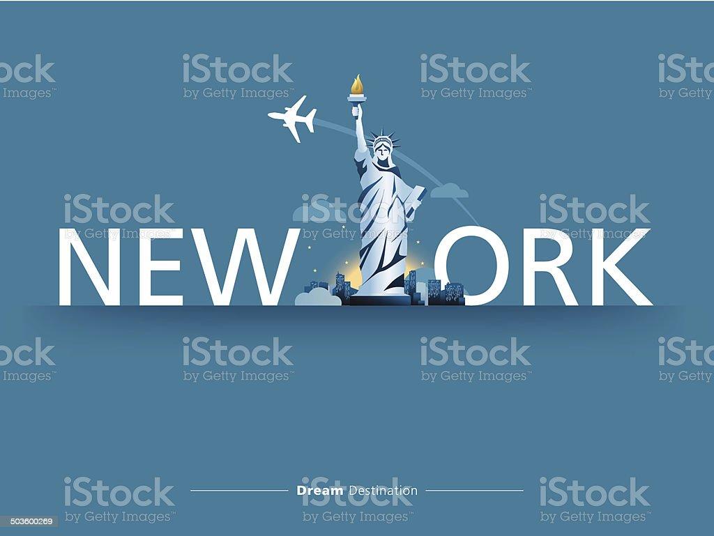 destination, travel, city scape, typography, New york, Statue of Liberty vector art illustration