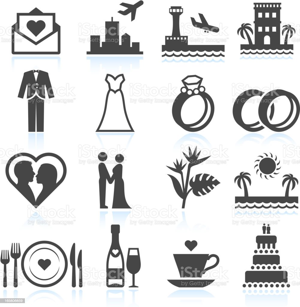 Destination Wedding Ceremony black & white vector icon set vector art illustration