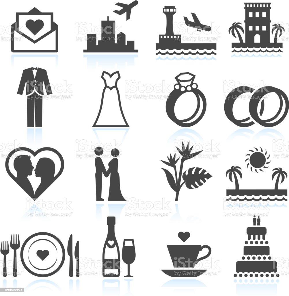 Destination Wedding Ceremony black & white vector icon set vector art illustration