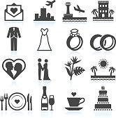 Destination Wedding Ceremony black & white vector icon set