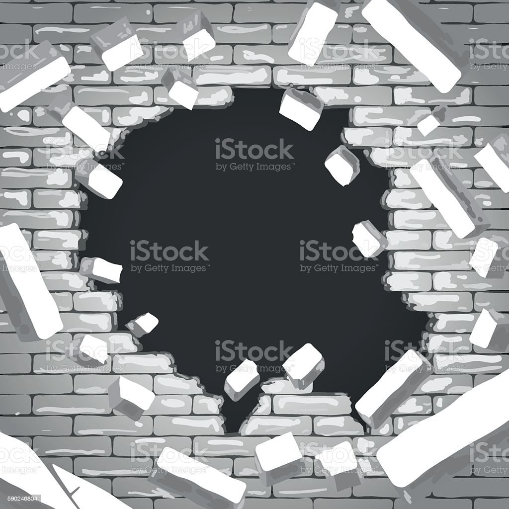 Destroyed brick wall vector art illustration