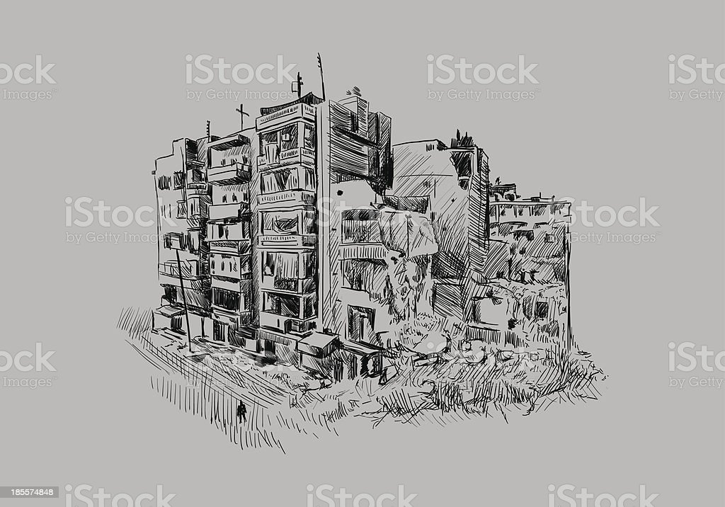 Destroyed building royalty-free stock vector art