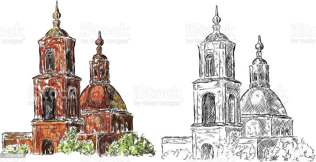 Destroyed Church royalty-free stock vector art