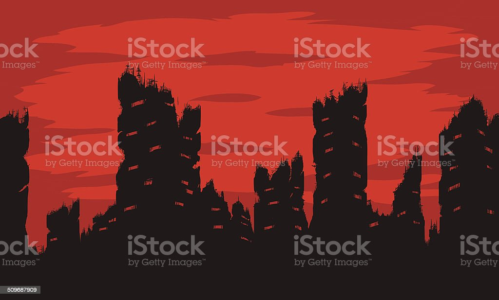 Destroyed city vector art illustration