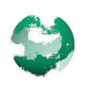 Destroyed green sphere, brush strokes