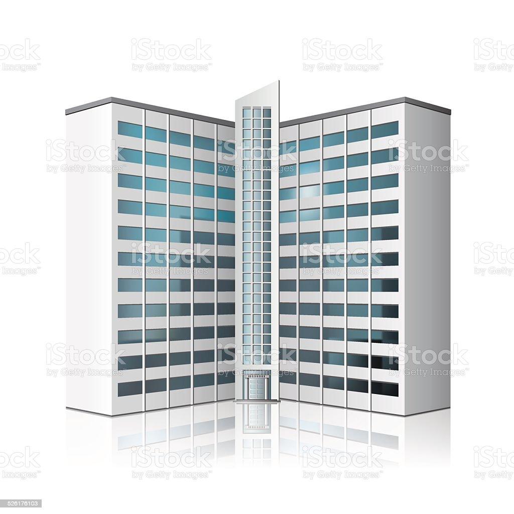 detached multistory office building, business center vector art illustration