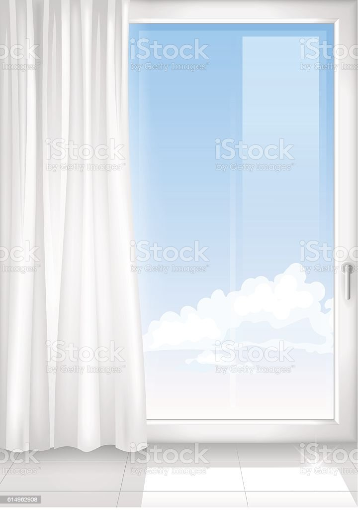 Detail of a window white room vector art illustration