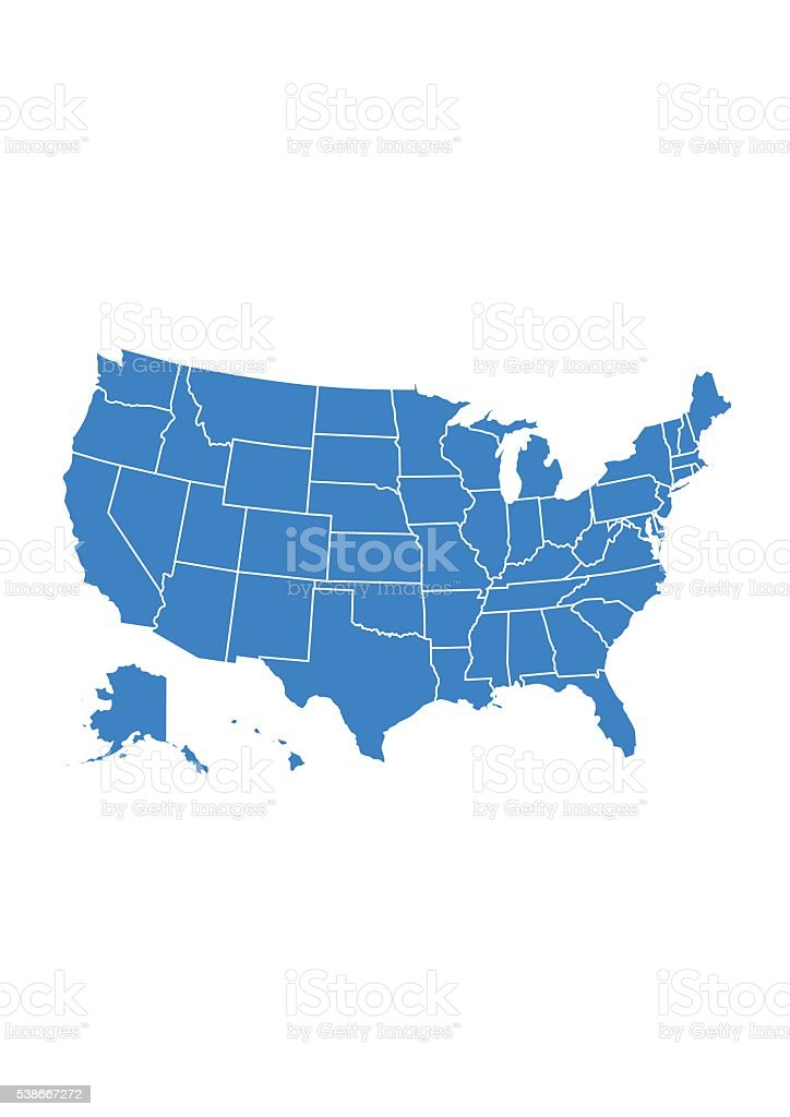 Detail USA map for each country. United States of America vector art illustration