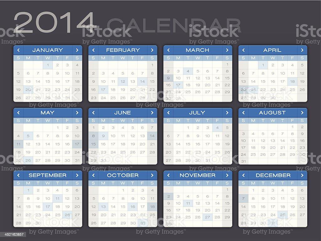 Detailed 2014 Calendar royalty-free stock vector art