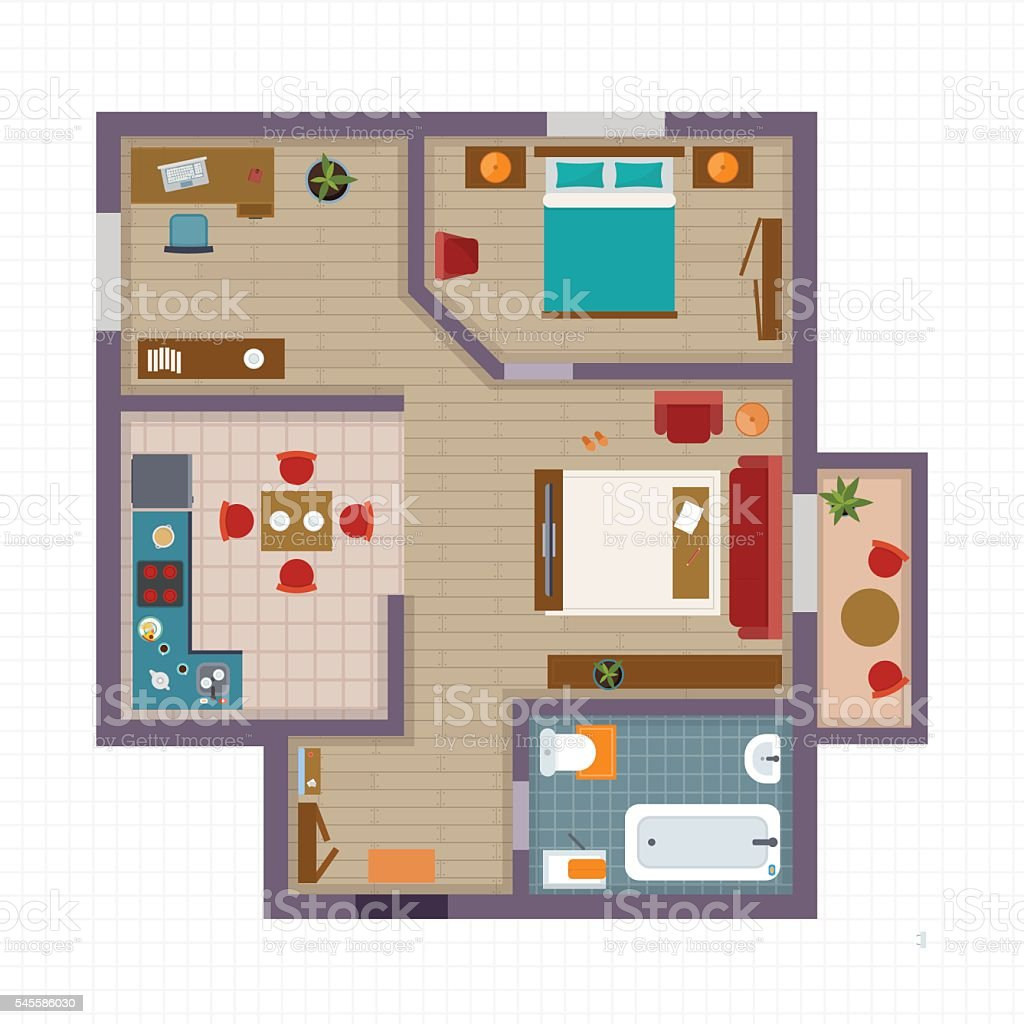 Detailed apartment furniture overhead top view vector art illustration