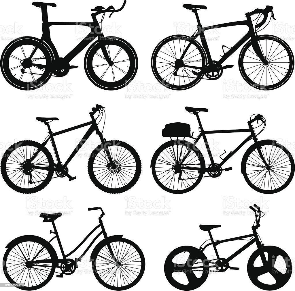 Detailed Bike Silhouettes vector art illustration