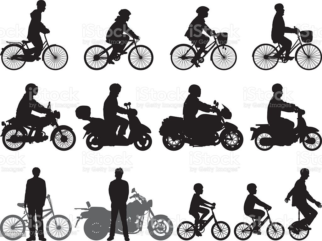 Detailed Bikes vector art illustration