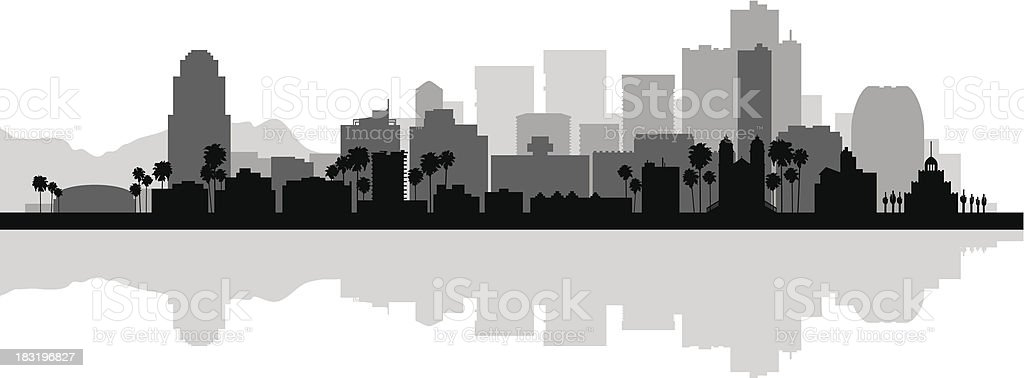 Detailed black and white silhouette of Phoenix city skyline vector art illustration
