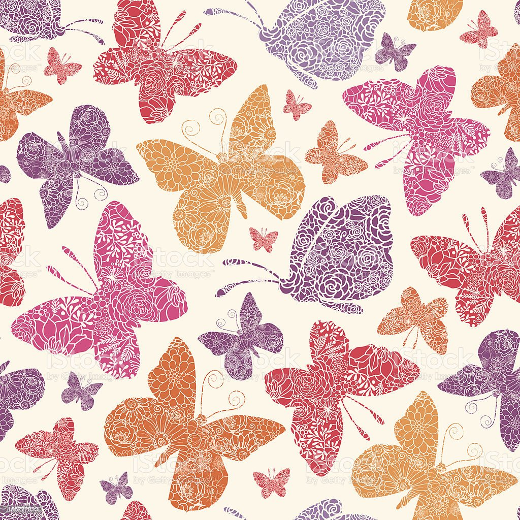 Detailed Butterfies Seamless Pattern Background royalty-free stock vector art