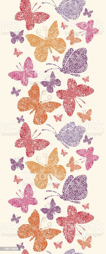 Detailed Butterfies Vertical Seamless Pattern Ornament royalty-free stock vector art