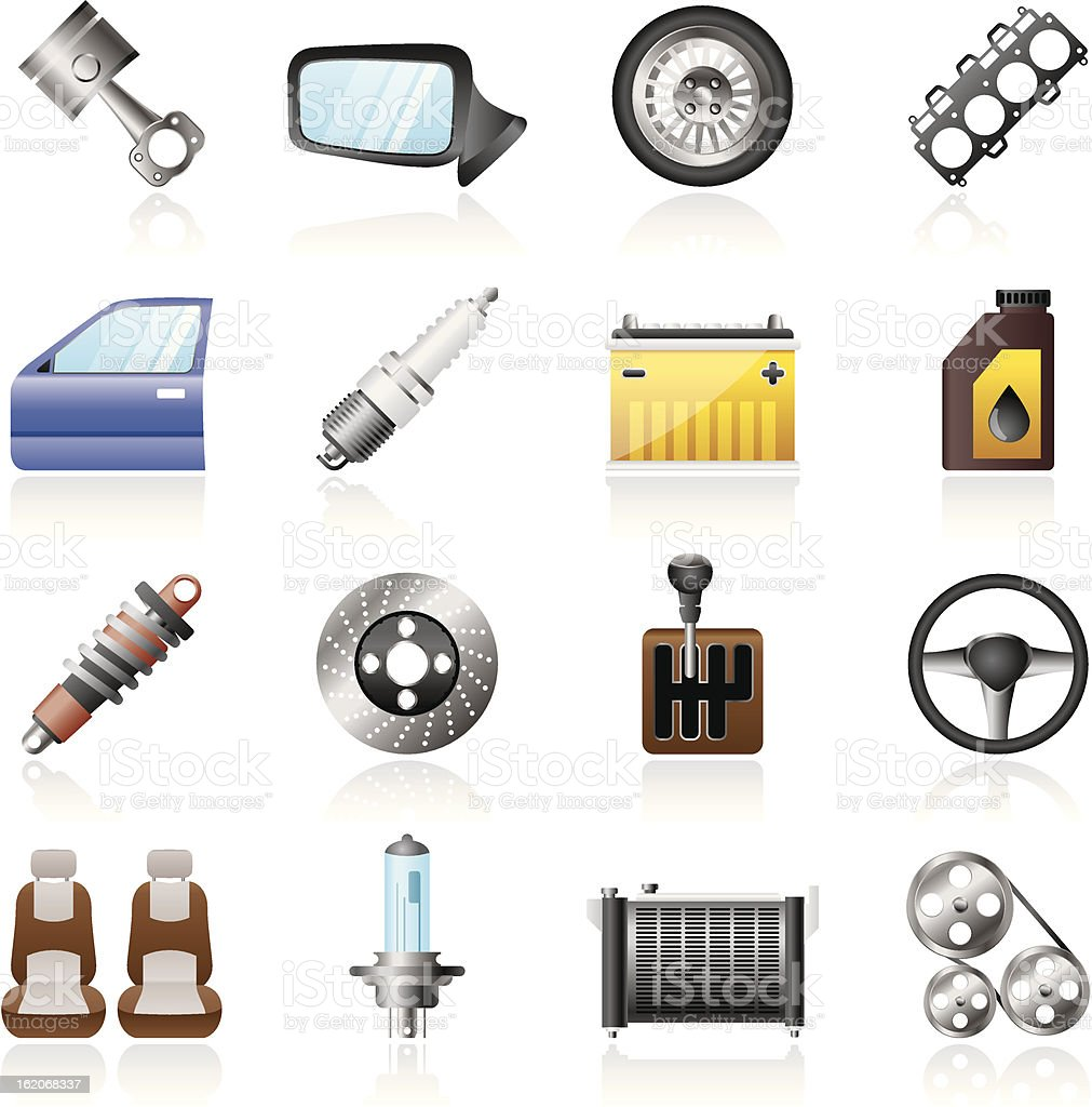 Detailed car parts icons royalty-free stock vector art