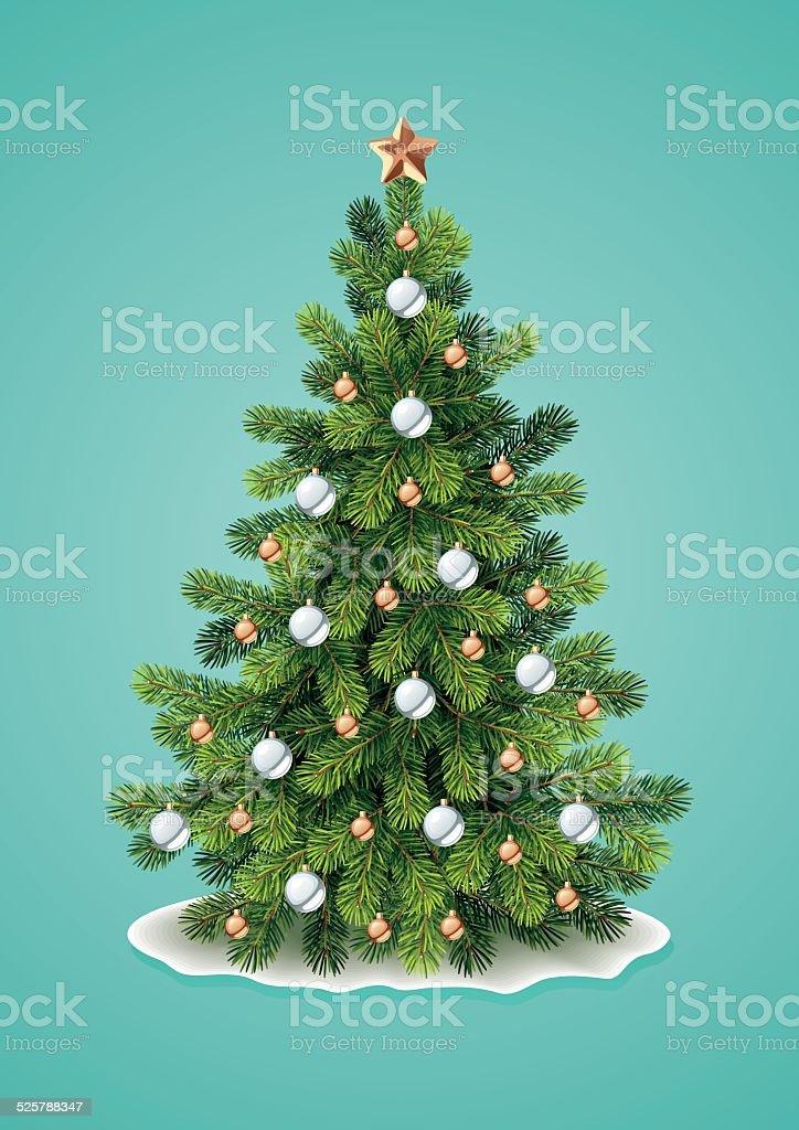 Detailed Christmas Tree vector art illustration