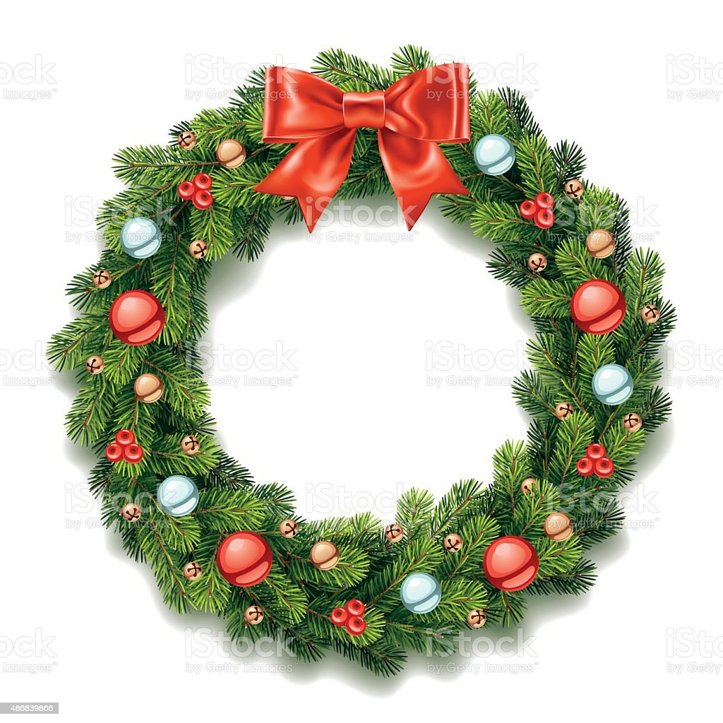 Detailed Christmas Wreath with Bow vector art illustration