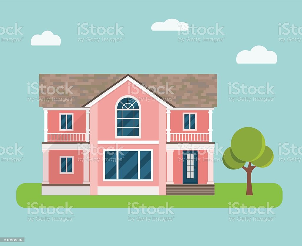 Detailed colorful cottage. Country house. Vector flat illustration vector art illustration