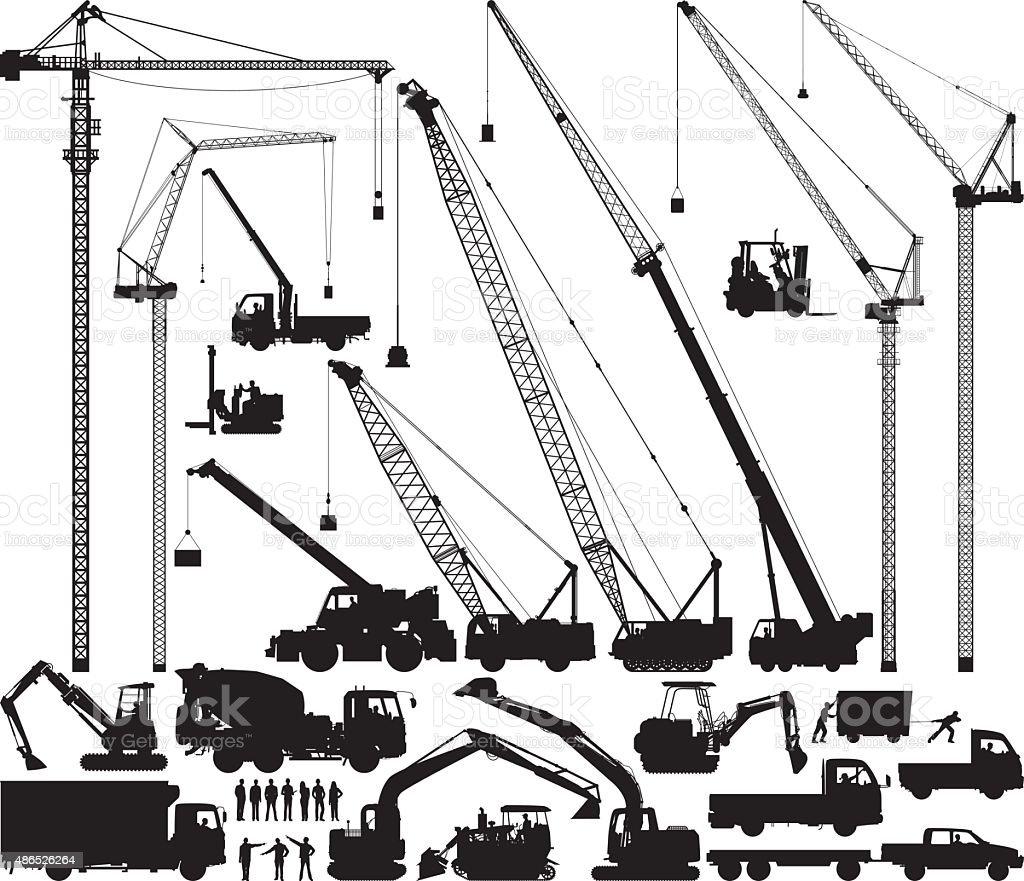 Detailed Construction Silhouettes vector art illustration