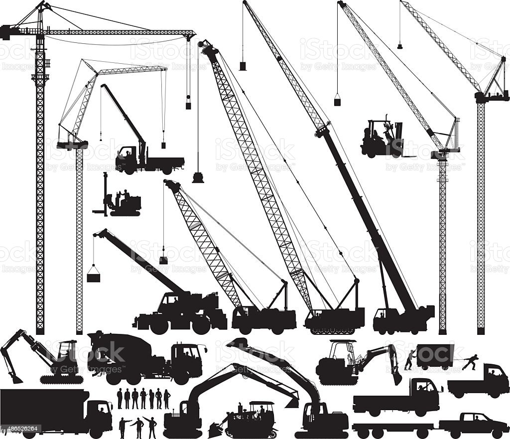 Detailed Construction Silhouettes vector art illustration