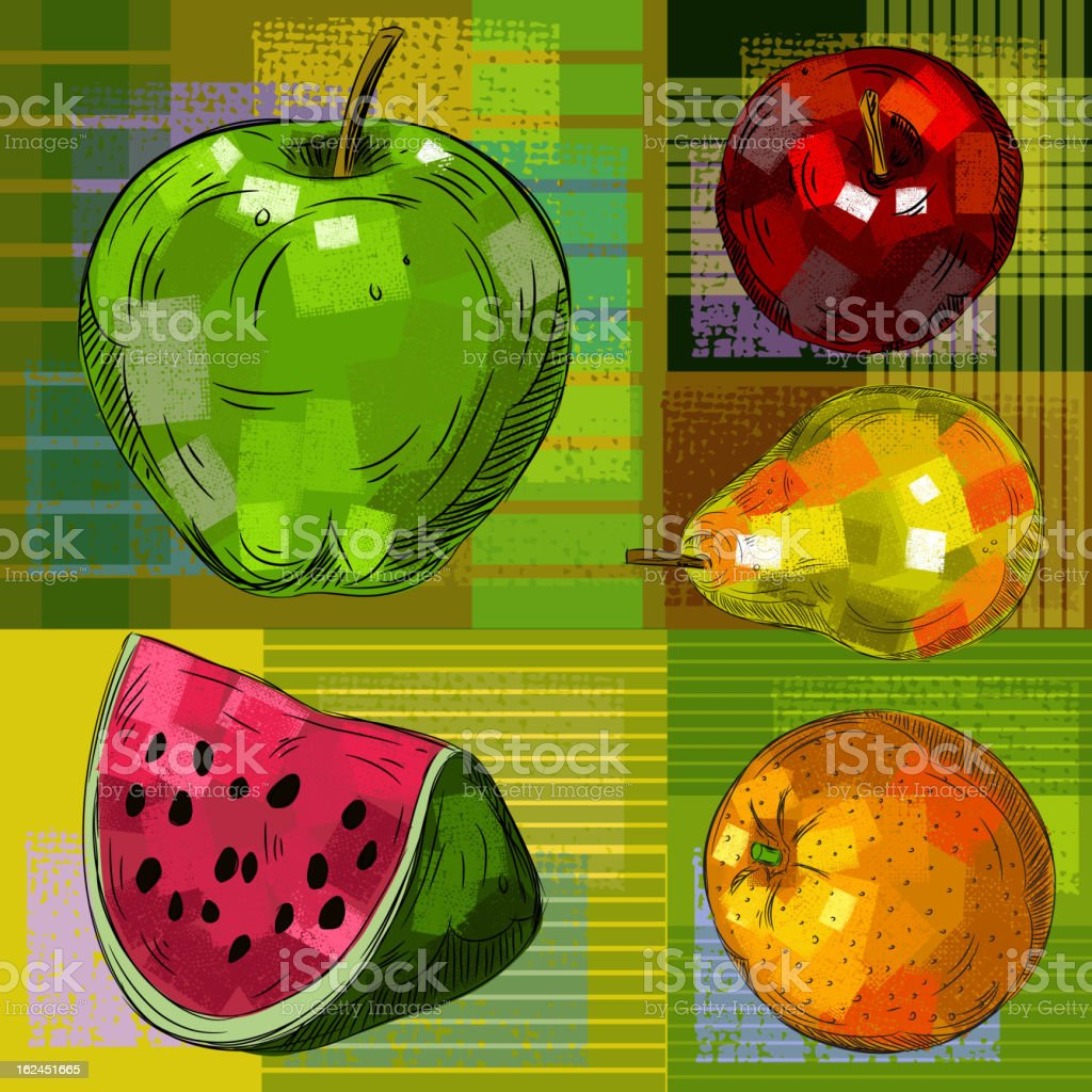 Detailed Drawings of Fruits royalty-free stock vector art