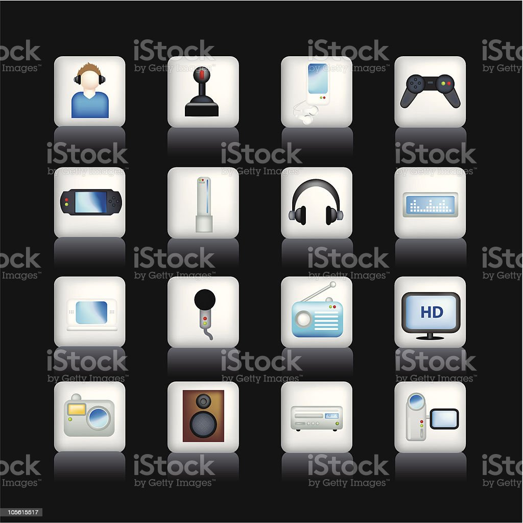 detailed entertainment icons on black royalty-free stock vector art