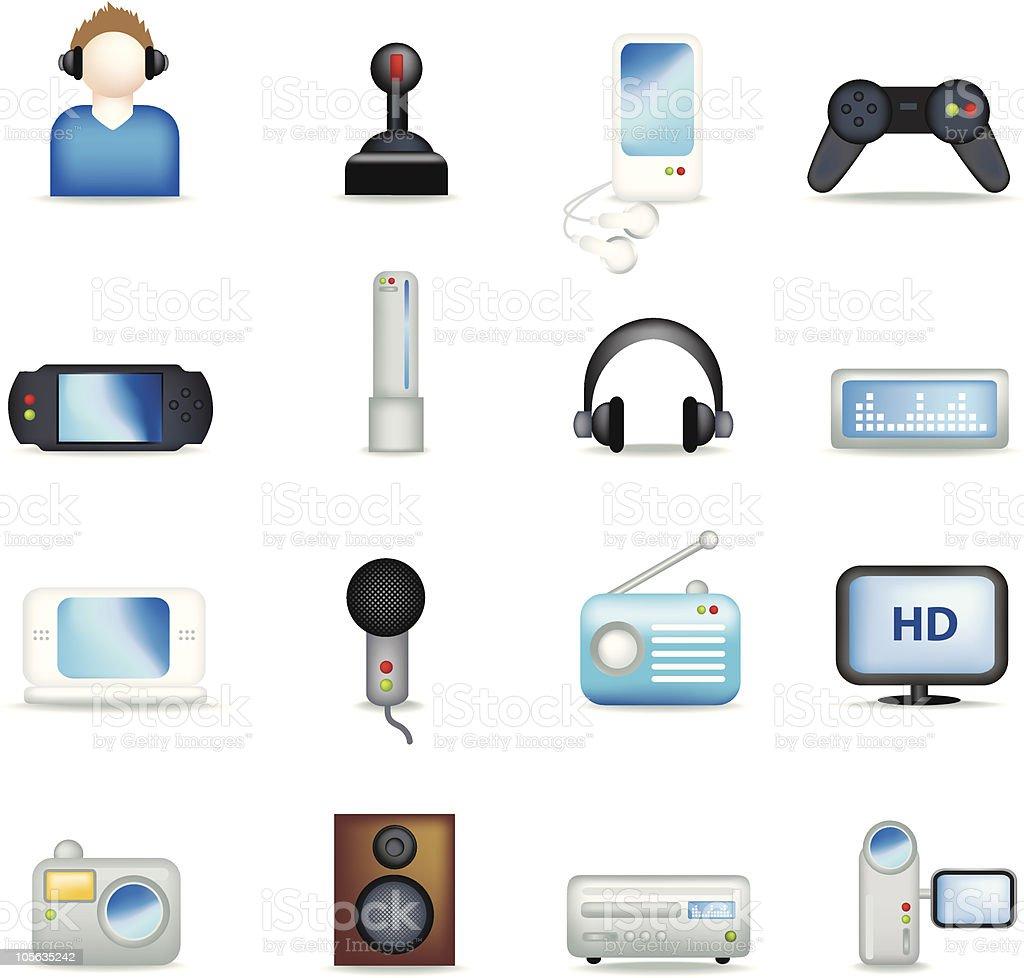 Detaillierte Unterhaltung icons auf Schwarz Lizenzfreies vektor illustration