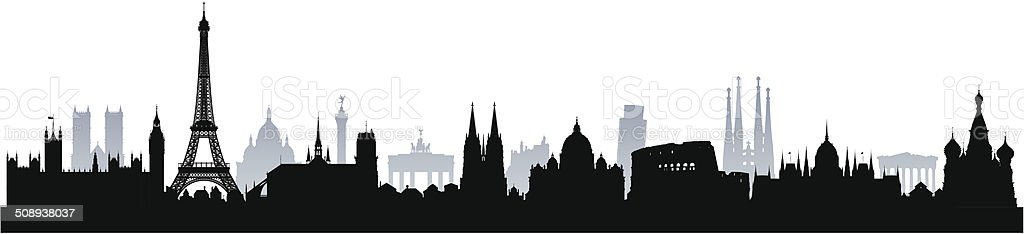 Detailed European Monuments (Complete, Moveable Buildings) vector art illustration