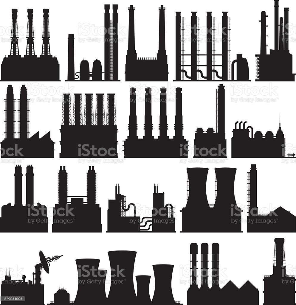 Detailed Factories vector art illustration