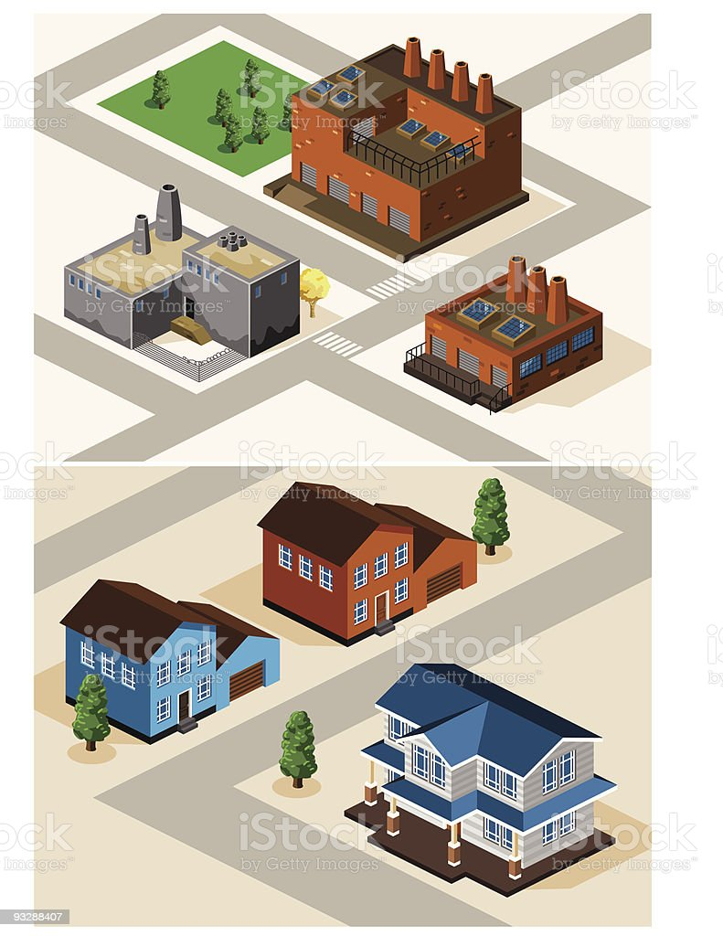 Detailed Factory Isometric royalty-free stock vector art