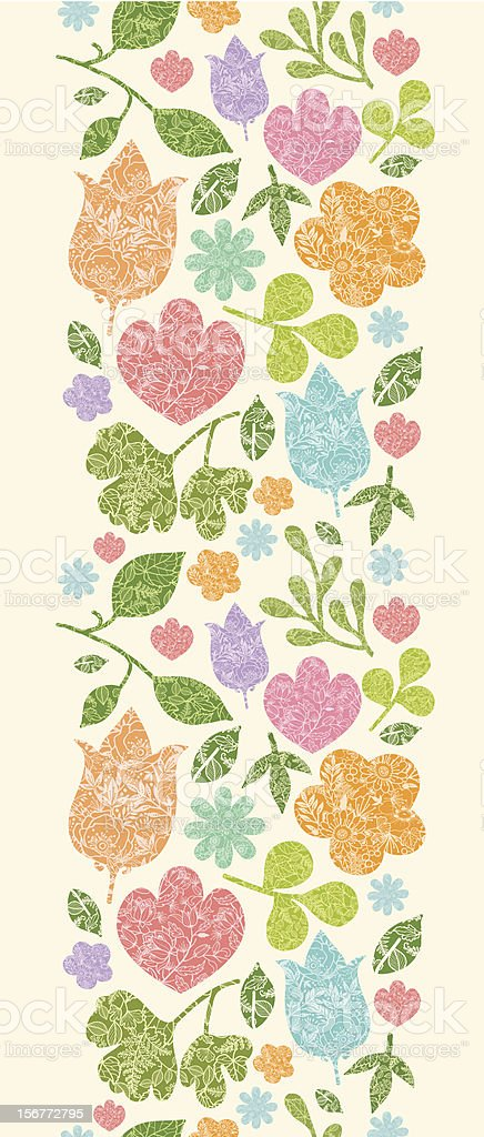 Detailed Flowers and Leaves Vertical Seamless Pattern Ornament royalty-free stock vector art