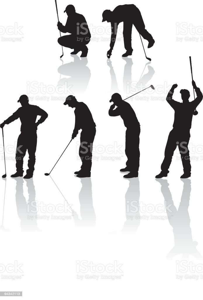 Detailed Golf Silhouettes royalty-free stock vector art