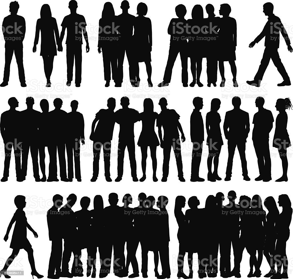 Detailed Groups (Individual, Complete People) vector art illustration