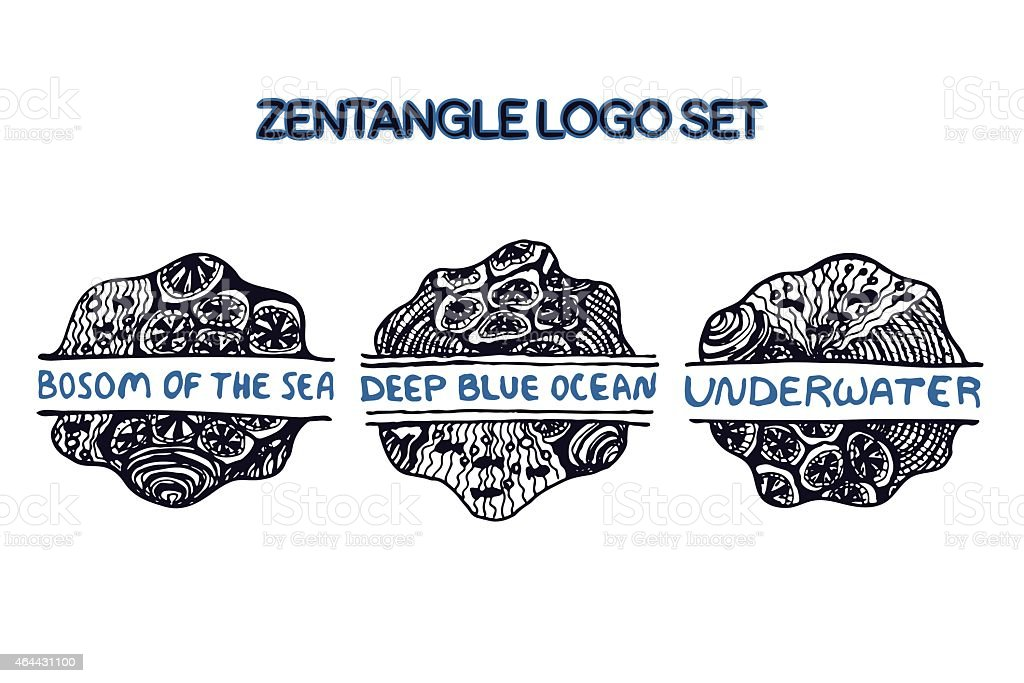 Detailed hand drawn zentangle logo set vector art illustration