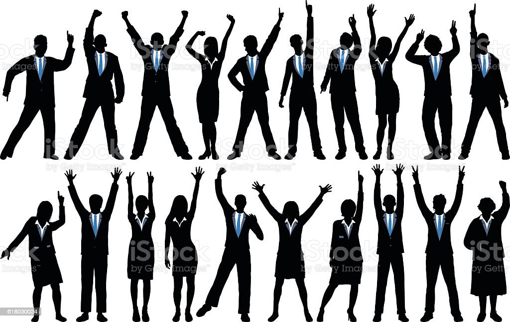 Detailed Happy Business People vector art illustration