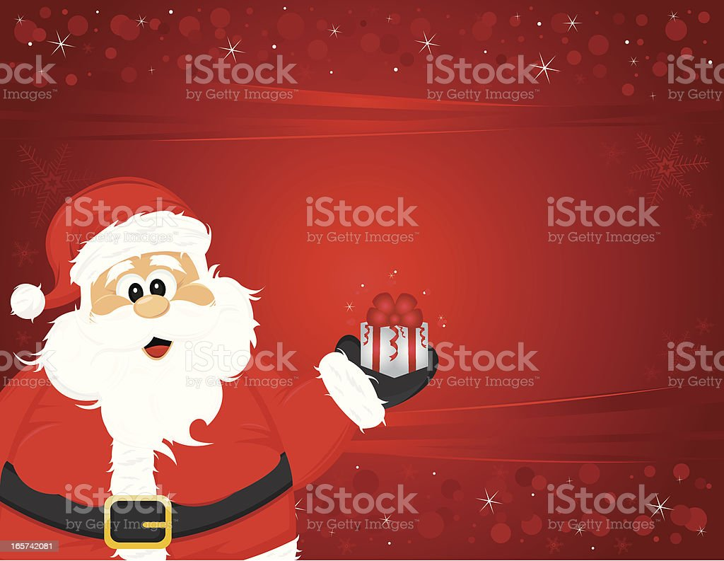Detailed Happy Santa Claus Holding Gift; Background vector art illustration